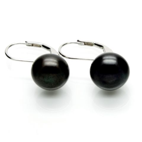 Leverback Pearl Earrings 10mm Black Cultured Button Pearls Sterling Silver
